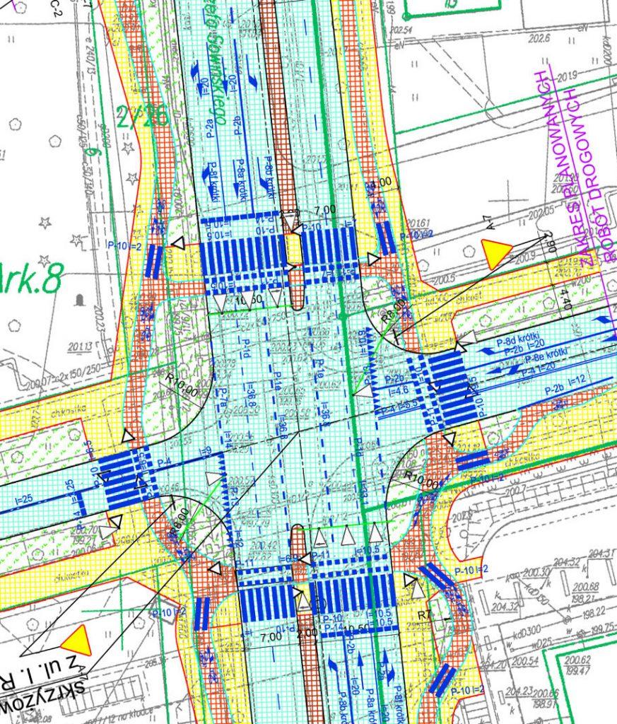 Wycinek projektu skrzyżowania Sowińskiego ze Skłodowskiej pokolorowany przez Krzysztofa Jaraszkiewicza, żeby było coś widać.