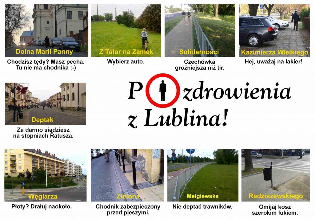 """""""Pocztówka"""" z Lublina ukazująca niedostatki miasta w infrastrukturze dla pieszych. Materiał promocyjny spotkania."""